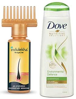 Indulekha Bhringa Hair Oil, 100ml And Dove Environmental Defence Shampoo, 340ml