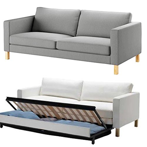 The Durable Cotton IKEA Karlstad 3 Seater Sofa Bed Or Sleeper Cover Replacement is Custom Made for IKEA Karlstad Sofa Bed Slipcover. (Lighter Gray)