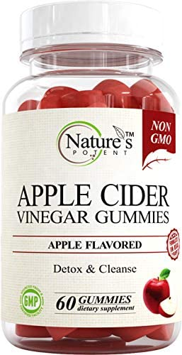Apple Cider Vinegar Gummies 100% Non-GMO, Natural Detox and Cleanse, Unfiltered ACV – Apple Flavored Gummy Best Alternative to Apple Cider Vinegar Capsules, Pills by Nature's Potent 1