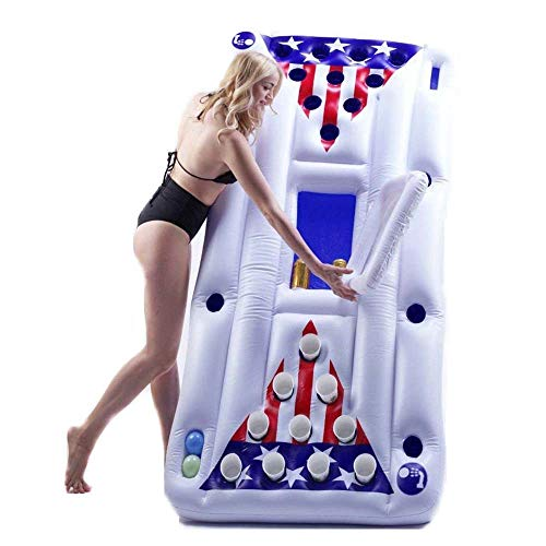 Weelongha Inflatable Pool Party Barge Floating Beer Pong Table Cooler, White, 6-Feet Relaxation Spot Decoration