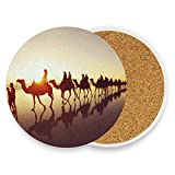 LoveBea Camel Team On The Desert Coasters, Protection for Granite, Glass, Soapstone, Sandstone, Marble, Stone Table - Perfect Drink Coasters,Round Cup Mat Pad for Home, Kitchen Or Bar 1 Piece