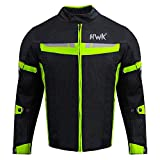 HWK Mesh Motorcycle Jacket Riding Air Motorbike Jacket Biker CE Armored Breathable (Small, Green)