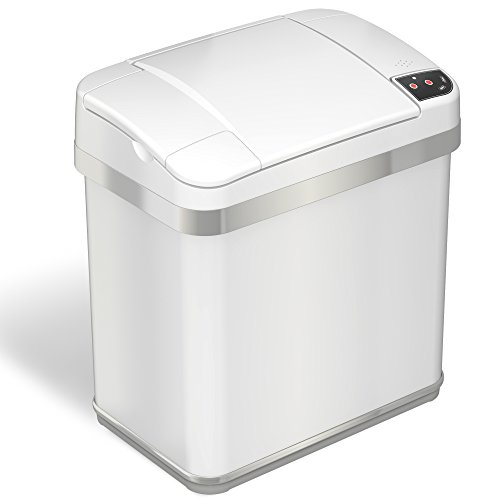 iTouchless 2.5 Gallon Sensor Trash Can with Odor Filter and Fragrance, Automatic Touchless Stainless Steel Waste Bin, Perfect for Bathroom and Office, Pearl White.