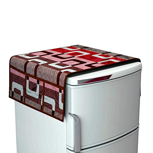 41HEyc1EtLL Factcore Premium Quality Combo of Exclusive Decorative Kitchen Combo Fridge Top Cover(Red), Fridge Handle Covers (Red)+ 3 Fridge Mats (Printed Red), 6 Piece Set)