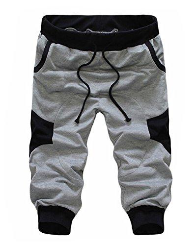 SoEnvy Men's Casual Harem Training Jogger Sport Short Baggy Pants Medium Light Gray