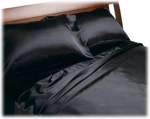 Royal Opulence Divatex Home Fashions Satin Queen Sheet Set, Black