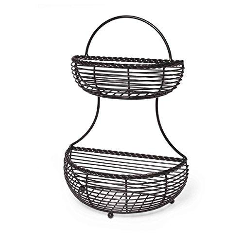 Gourmet Basics by Mikasa 5153170 2-Tier Flatback Metal Storage Basket, Rope