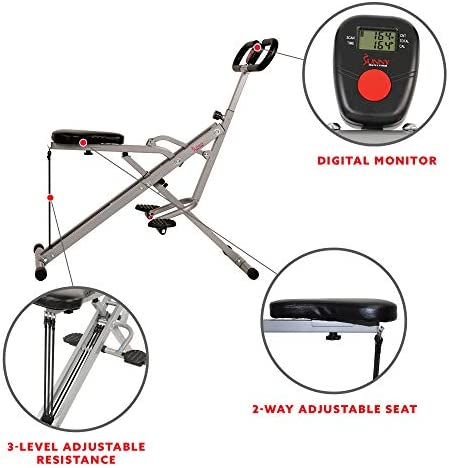 Sunny Health & Fitness Squat Assist Row-N-Ride Trainer for Squat Exercise and Glutes Workout 5