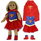 """Super Girl Doll Clothes for American Girl & 18"""" Dolls (3 Piece Set) - Superhero Costume Includes Dress, Shoes, Cape"""
