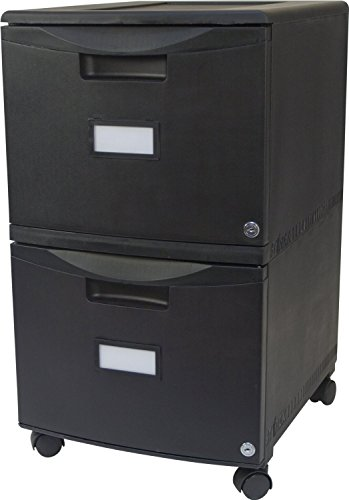 Storex 2-Drawer Mobile File Cabinet with Lock, 18.25 x 14.75 x 26 Inches, Legal/Letter, All Black (61312U01C)