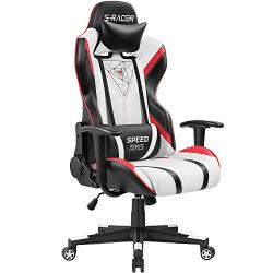 Homall Gaming Racing Office High Back PU Leather Computer Desk Executive and Ergonomic Swivel Chair with Headrest, Black/Red