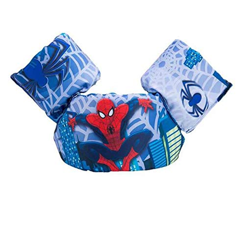 Sunworld Swim Arm Bands Trainer Float Vest Puddle Jumper Basic Life Jacket Learn Swimming Independence Fun Aid Water Pool Beach (Spider-Man red)