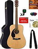 Fender CD-60S Dreadnought Acoustic Guitar - Left Handed, Natural Bundle with Hard Case, Tuner, Strap, Strings, Picks, Austin Bazaar Instructional DVD, and Polishing Cloth