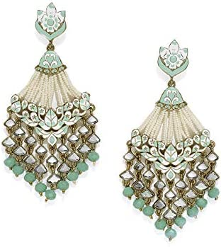 Zaveri Pearls Ethnic Dangler Earrings for Women (Golden) (ZPFK7383)