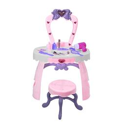 US Fast Shipment Homsta Fantasy Kid Vanity Beauty Dresser Table Play Set with Lights, Music, Mirror,Fashion & Makeup Accessories for Kid and Pretend Play, Dress-UP Vanity Toy for Kids (Pink)