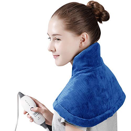 """Tech Love Electric Heating Pad for Neck Shoulder and Upper Back Pain Relief Moist/Dry Heated Pad with Auto Shut Off 14"""" x 22"""" - Blue"""