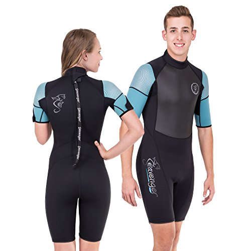 Seavenger Navigator 3mm Shorty   Short Sleeve Wetsuit for Men and Women   Surfing, Snorkeling, Scuba Diving (Surfing Aqua, Women's 7)