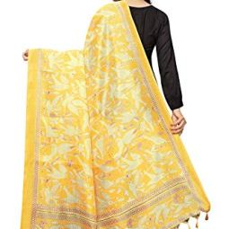 Anni Designer Women's Yellow Color Silk Dupatta Chunni (KDUP1026)