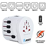 Orei M8+ OREI Safest World Travel Adapter Grounded 3 Prong Plug for Laptop, Chargers, USB Device, Cell Phones - M8 Plus