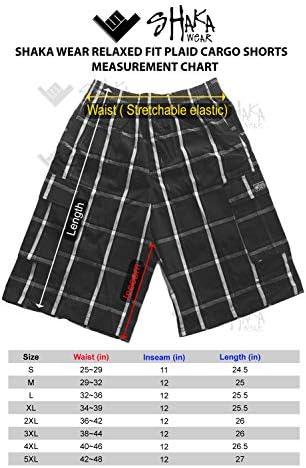 Shaka Wear Men's Men's Cargo Shorts – Casual Plaid Loose Relaxed Loose Fit Elastic Waist Multi Pocket Pants Regular Big S~5XL 6