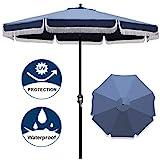 Blissun 9' Outdoor Patio Umbrella with Fringe, Aluminum Manual Push Button Tilt and Crank Garden Parasol