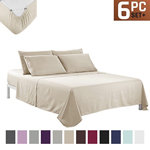 Sfoothome Bed Sheet Set with 4 Sheet Clips - Deep Pockets - 2 Extra Pillow Cases - Wrinkle,Fade,Stain Resistant - 6 Pieces (King,Beige)
