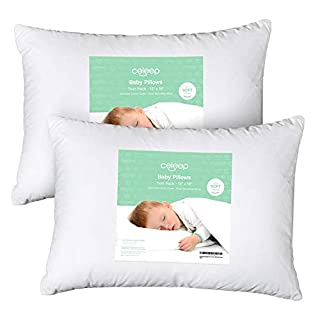 "[2-Pack] Celeep Baby Toddler Pillow Set - 13"" x 18"" Toddler Bedding Small Pillow - Baby Pillow with 100% Cotton Cover - Prevent Flat Head Syndrome"