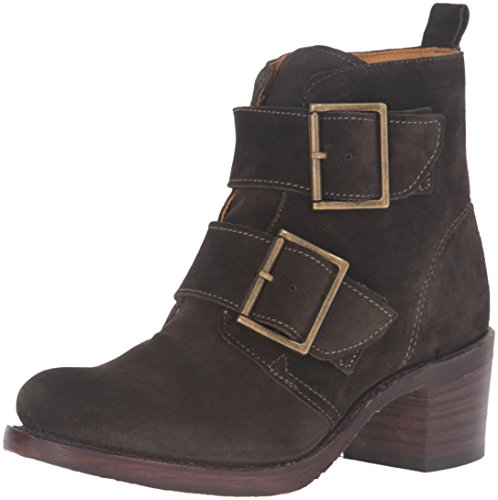 41HlSVbE4%2BL Round-toe ankle bootie featuring two wide straps with oversize antiqued buckles Stacked block heel Full-length instep zipper