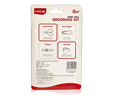 41Ho XUl2vL LuvLap Child Grooming Scissors & Nail Clipper Set/Equipment, Manicure Set, 4pcs, White, 0m+