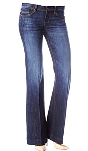 51IIP26XzpL Flare cut jean, featuring a low rise with zip fly and button closure Distressed style Classic five pocket styling