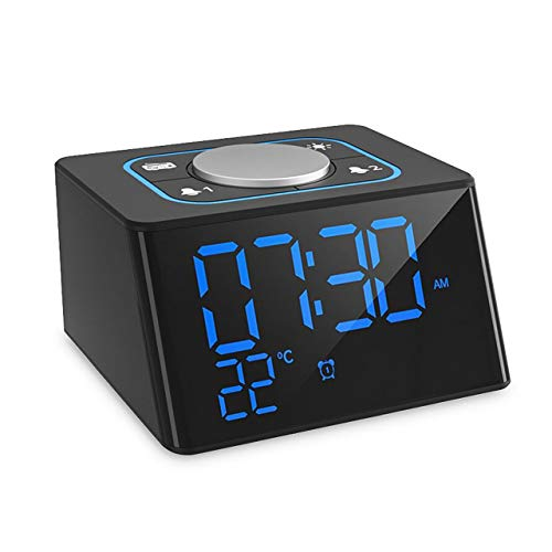 Clock Radios,Dual Snooze Alarm Clock Radio FM for Bedrooms and Office,Digital Alarm Clock with Headphone Jack,12/24H Mode,LED Brightness Dimmer,Temperature Display Indoor,USB Charging for Smartphone