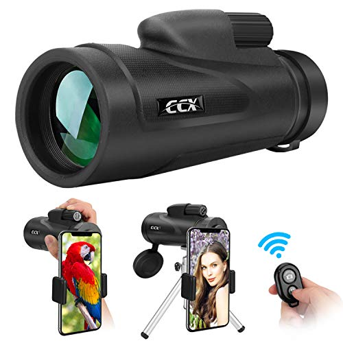 CCX Monocular Telescope for Smartphone, 12X50 High Power BAK4 Prism Monocular, Waterproof Handheld Telescope for Adults Bird Watching with Phone Photography Adapter and Wireless Remote Control