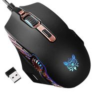 ONIKUMA Wireless Gaming Mouse [6000 DPI] [Rechargeable] [Silent Click] Computer USB Mice- Accurate Optical Gaming Sensor & 16.8 Million Color RGB Breathing LED Backlit, Wired Charging Compatibility