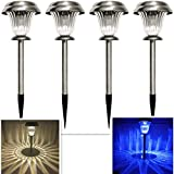 Sogrand Solar Lights Outdoor Pathway Decorative Garden Stake Light Set Bright White Blue Dual Color LED Path Lamp Decorations Stainless Steel Landscape Lighting Stakes for Walkway Outside Yard 4Pack