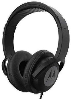 Motorola Pulse 100 Over-Ear Wired Headphones with Alexa (Black)