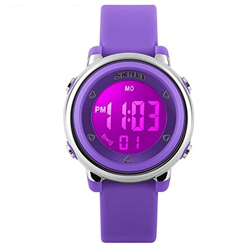 Better line Digital Kids Watch Band with Hourly Chime, Stopwatch, Daily Alarm & Calendar, Water Resistant 30M (Purple)