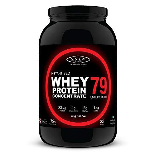 Sinew Nutrition Instantised Raw & Real Whey Protein Concentrate 79% – 1 Kg (Unflavoured)