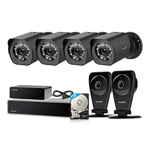 Zmodo 8CH sPoE Security Camera System with Repeater, 4 Outdoor Weatherproof and 2 Indoor Two-Way Audio Cameras, 1080P NVR Recorder 1TB HDD and Cloud Service for Intelligent Recording
