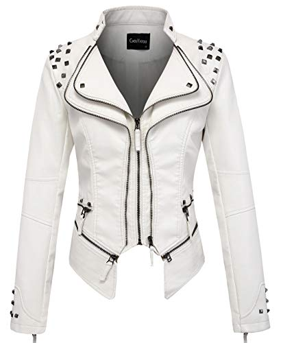 chouyatou Women's Fashion Studded Perfectly Shaping Faux Leather Biker Jacket 1 Fashion Online Shop Gifts for her Gifts for him womens full figure