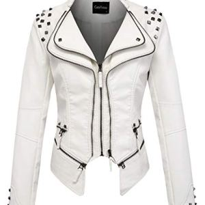 chouyatou Women's Fashion Studded Perfectly Shaping Faux Leather Biker Jacket 15 Fashion Online Shop gifts for her gifts for him womens full figure