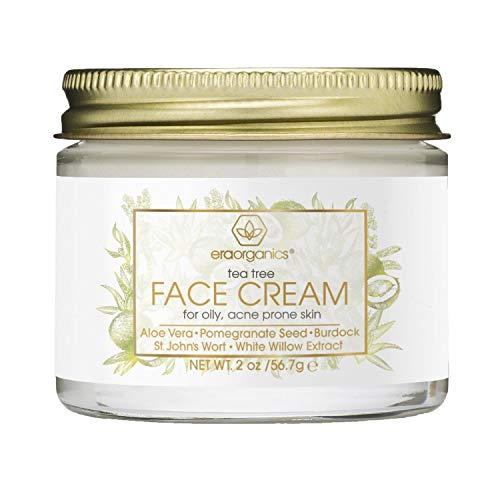 Tea Tree Oil Face Cream - For Oily, Acne Prone Skin Care Natural & Organic Facial Moisturizer with 7X Ingredients For Rosacea, Cystic Acne, Blackheads & Redness 2oz Era-Organics