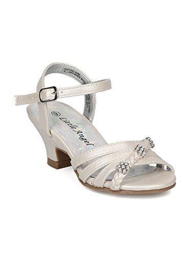Alrisco Girls Open Toe Rhinestone Flower Ankle Strap Kiddie Heel Sandal HC28 - Ivory Leatherette (Size: Little Kid 1)