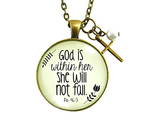 36 god is within her cross necklace for women she will