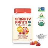 SmartyPants Vegetarian Organic Kids Daily Gummy Vitamins: Multivitamin, Gluten Free, Non-GMO, Omega-3, Probiotic, Vitamin D3, Methylcobalamin B12, Zinc; 120Count (30 Day Supply)