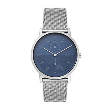 Skagen Men's Kristoffer Multifunction Quartz Stainless Steel and Mesh Casual Watch Color: Stainless/Blue (Model: SKW6500)