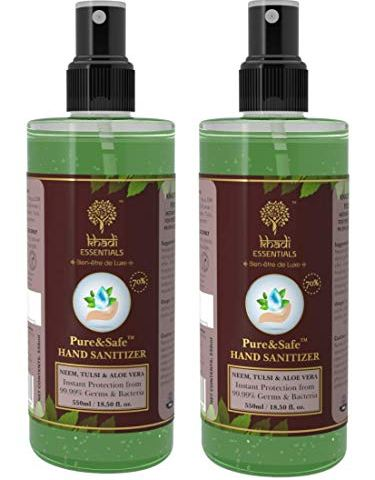 Khadi-Essentials-PureSafe-Instant-Hand-Sanitizer-Spray-Pack-of-2x550ml-with-70-Ethyl-Alcohol-Neem-Tulsi-Aloe-Vera-Extracts-with-Glycerine1100ml
