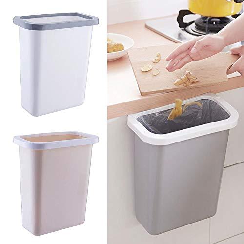 S WIDEN ELECTRIC Plastic Kitchen Hanging Trash Bin 10L/2.6Gal Cupboard None Cover Waste Bin Fixed Garbage Bag Toilet Bathroom Living Room
