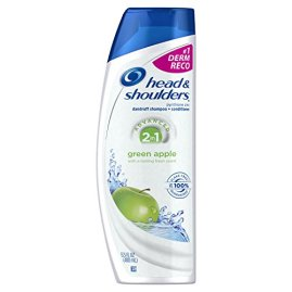 Head & Shoulders Green Apple 2-in-1 Anti-Dandruff Shampoo + Conditioner 13.5 Fl Oz (Pack of 2)