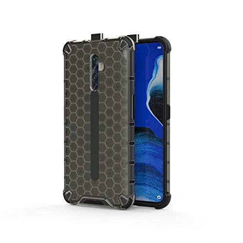 Soezit Bump Side Air Cushion Honeycomb Pattern Luxury Back Case Cover for Oppo Reno 2Z [Protective + Anti Shock Proof CASE] - Black 131
