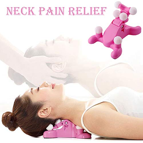 Cervical Pillow Neck and Head Pain Relief Back Massage Traction Device Support Relaxer, Tension Headache Relief, 6 Trigger Point Therapy, Best Hands-Free Device Sore Muscles, Improved Mobility